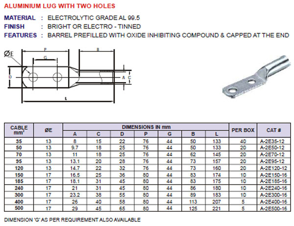 Aluminium Lug With Two Holes Cable Lugs Manufacturer