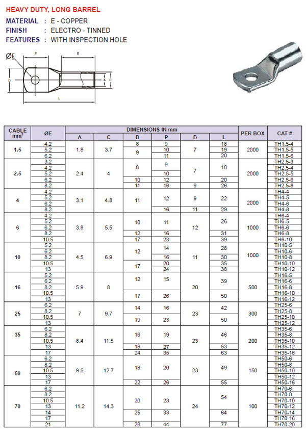Compression Cable Lugs Heavy Duty Long Barrel Supplier